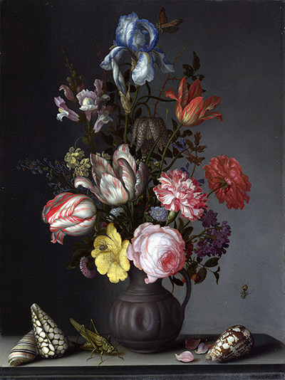 Balthasar van der Ast Flowers in a Vase with Shells and Insects WGA1042